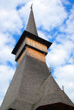 Wooden tower raising to heaven royalty free stock images
