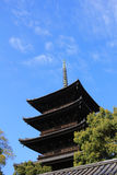 The wooden tower of To-ji Temple royalty free stock image