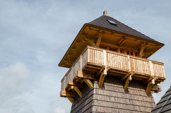 Wooden tower top Stock Photo