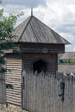 Wooden tower and the wall of the stockade Stock Image