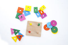 Wooden toy. Traditional and natural colorful wooden toy for babies and children Stock Photos