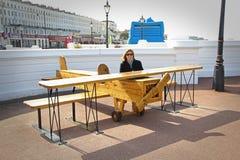 Wooden toy aeroplane stock photo