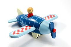 Wooden toy airplane. Children's Wooden Toy Airplane isolated on white Royalty Free Stock Photography