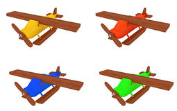 Wooden toy airplane collage Stock Images