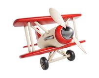 Wooden toy airplane 3D render illustration isolated on white bac royalty free illustration