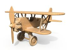 Wooden toy airplane 3D Stock Images