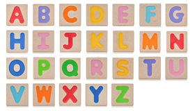 Wooden toy alphabet A to Z Stock Image