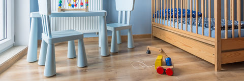 Wooden toy in baby room Stock Photo