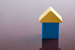 Wooden toy block house Royalty Free Stock Images