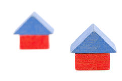 Wooden toy block house symbol construction Stock Photography