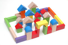 Wooden toy blocks Stock Images