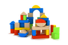 Wooden toy blocks. On a white background, 3D model Royalty Free Stock Photo