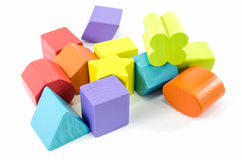 Wooden toy blocks isolated Stock Photos