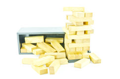 Wooden toy blocks isolated on white background. ห Stock Photo