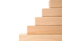 Wooden toy blocks like steps Stock Photos