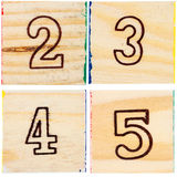 Wooden toy blocks with numbers Royalty Free Stock Photography