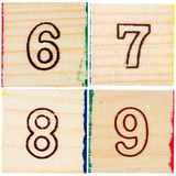 Wooden toy blocks with numbers Stock Photo