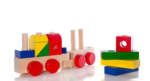 Wooden toy blocks train Royalty Free Stock Images
