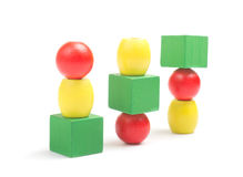 Wooden toy blocks on white background Royalty Free Stock Photos