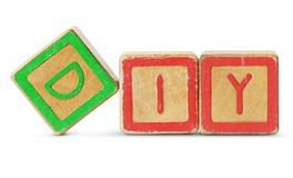Wooden toy blocks is on white background with clipping path Stock Image