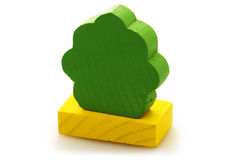 Wooden toy brick tree Royalty Free Stock Photo