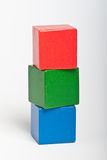 Wooden toy building blocks royalty free stock photo