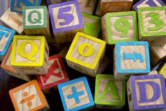 Wooden Letter Blocks. Stock Photo