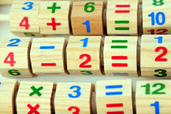 Wooden toy calculator royalty free stock photos
