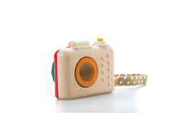 Wooden toy camera on white background.  Stock Image