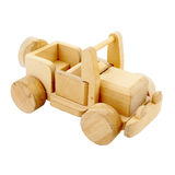Wooden toy car. Isolated on white background Royalty Free Stock Images
