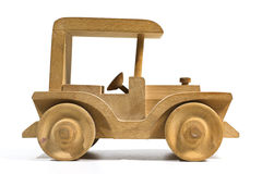 Wooden toy car. Wooden tooy car on white background Royalty Free Stock Photos