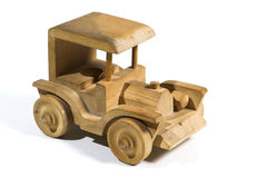 Wooden toy car. Wooden tooy car on white background Stock Image