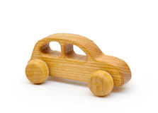 Wooden toy car. On white Stock Images