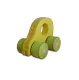 Wooden toy car. Tiny green wooden toy car for fun Stock Photo