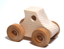Wooden Toy Car. Isolation Stock Images
