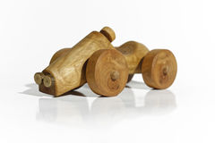 Wooden toy car. Childish wooden hand made small toy car Royalty Free Stock Photo