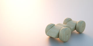 Wooden toy car. 3d rendering Royalty Free Stock Photos