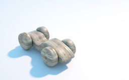 Wooden toy car. 3d rendering Royalty Free Stock Image