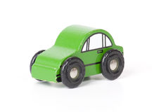 Wooden Toy Car. Green wooden toy car isolated on a white background Royalty Free Stock Photo
