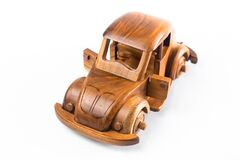 Wooden toy car Hand made on white background