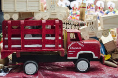 Wooden toy car. Handicraft from Oaxaca, Mexico Stock Image
