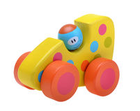 Wooden toy car. Isolated over white Stock Images