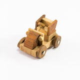 Wooden toy car miniature isolated on white background Stock Image