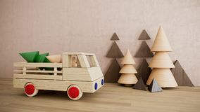 Wooden toy car with pine trees christmas holiday background photo. Wooden toy with car christmas holiday  photo with pine trees happy new year Royalty Free Stock Photos