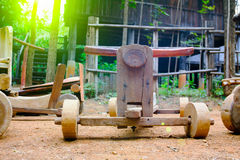 Wooden toy car sleigh  at countryside, Thailand Royalty Free Stock Images