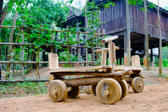 Wooden toy car sleigh  at countryside, Thailand Stock Images