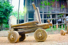 Wooden toy car sleigh  at countryside, Thailand Royalty Free Stock Photos