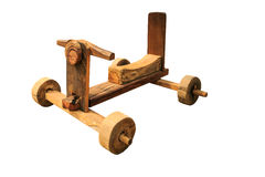 Wooden toy car. On white background Stock Image