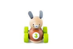 Wooden toy car on white background Stock Photos