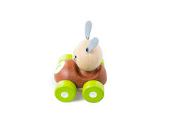 Wooden toy car on white background Royalty Free Stock Photos